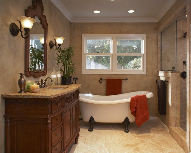 Bathroom Craftman Style Bathroom With Slipper Tub Design