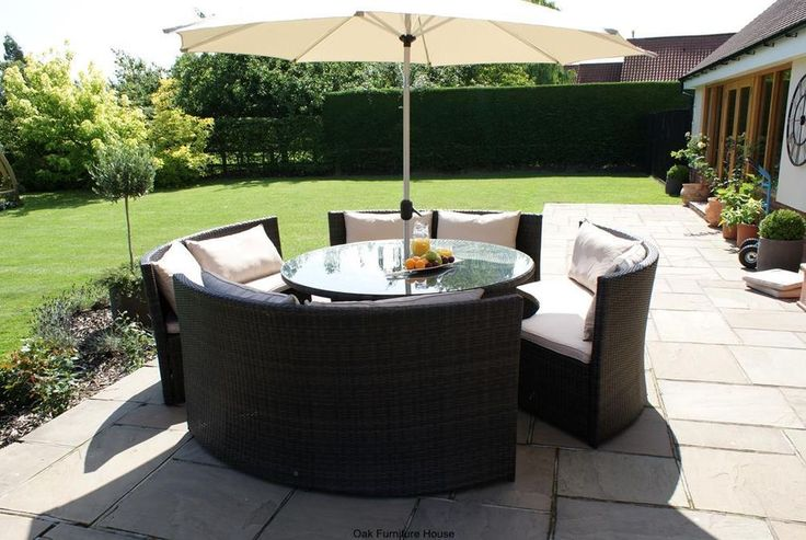 new york rattan outdoor garden furniture round table sofa parasol set