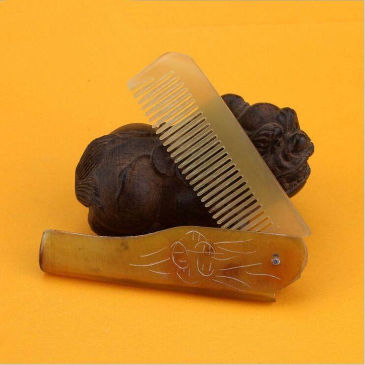 Venta caliente más barato 1 pcs natural cuerno peine de bolsillo plegable de pelo cepillo de pelo de viaje cuidado de la salud peine de peluquería