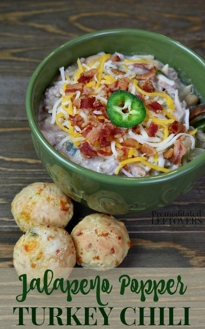 This quick and easy Jalapeno Popper Turkey Chili recipe is made with ground turkey and white beans. Bacon and Jalapeno peppers give it a flavorful twist on traditional white chili recipes. The cream cheese adds flavor and naturally thickens the chili. Top with Monterrey Jack, Cheddar Cheese, and crumbled bacon.