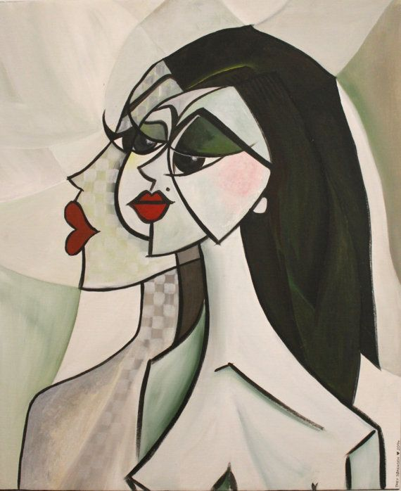 Multifaceted women in tones of green  Original by LildreysDeciDela