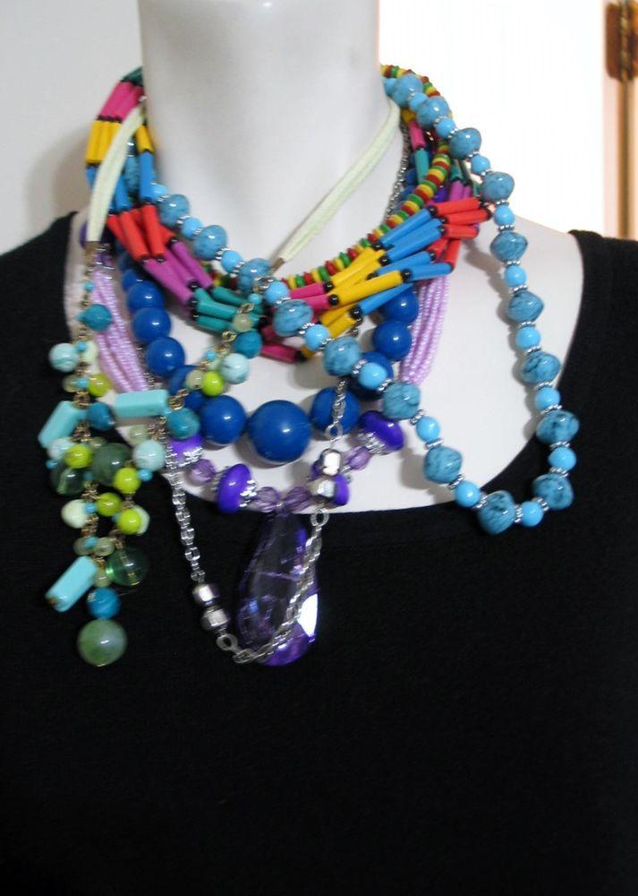 Lot of 7 Estate Lot Necklaces Jewelry Beads Lucite Multi Colored Purple Pendant  #unbranded #PendantChoker