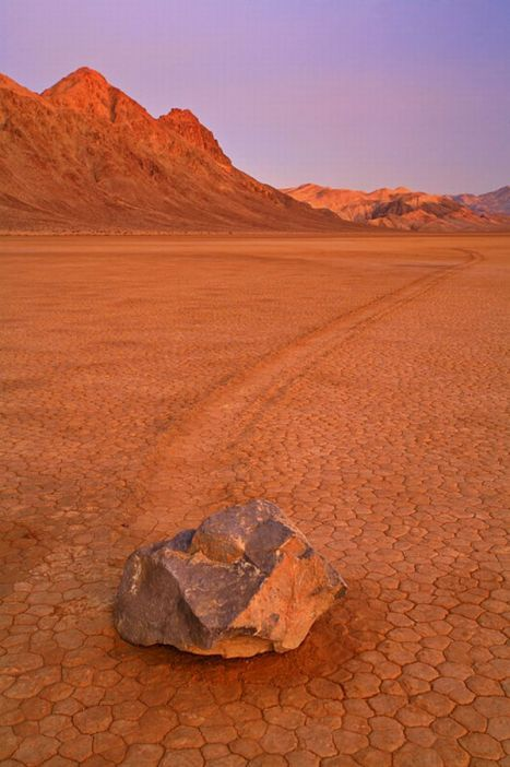 'Sailing Stones' in Death Valley. These stones somehow move leaving tracks in the desert.