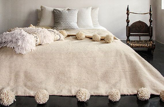 Moroccan Bed Spread Blanket Throw Or Rug With Pom Poms