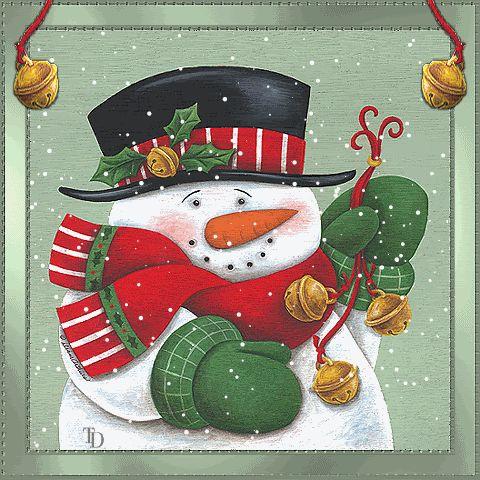 Bells photo: Snowman w/Bells snowmanandbells2.gif