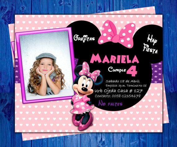 Invitación de Cumpleaños de Minnie Mouse  2016 por oscarsitosroom