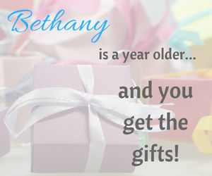 Bethany is a year older and you get the gifts!  Enter to win Fit2B e-courses, An annual membership to Fit2B, a squatty potty, Lilla Rose Flexi Clip, Norwex, The Tummy Team e-course, a pair of Unshoes or a Twirly Squirrels skirt!  Giveaways end Friday March 24th 2017 @ midnight.