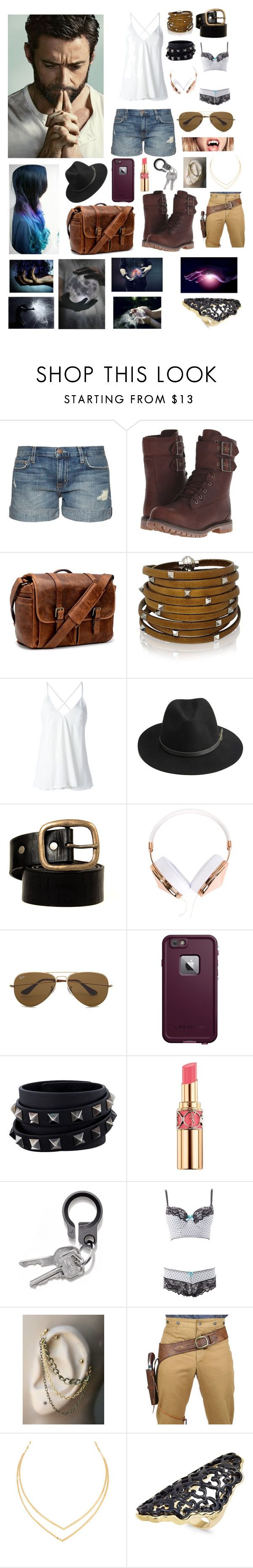 """""""Mr & Mrs howlett"""" by evil-fangirl-overlord ❤ liked on Polyvore featuring Wolverine, Current/Elliott, Timberland, Brixton, Sif Jakobs Jewellery, Dondup, BeckSöndergaard, Frends, Ray-Ban and LifeProof"""