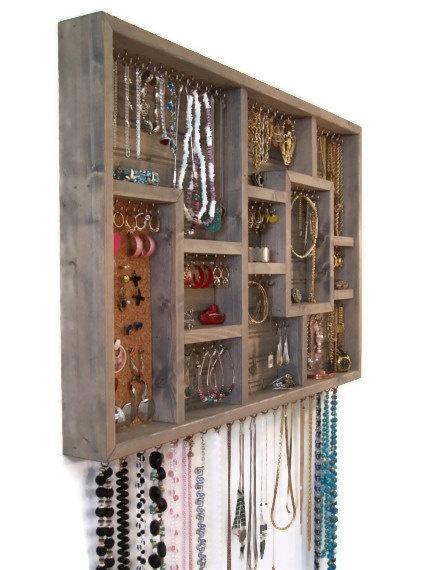 Wood Wall Art Jewelry Organize Display Case $118.00