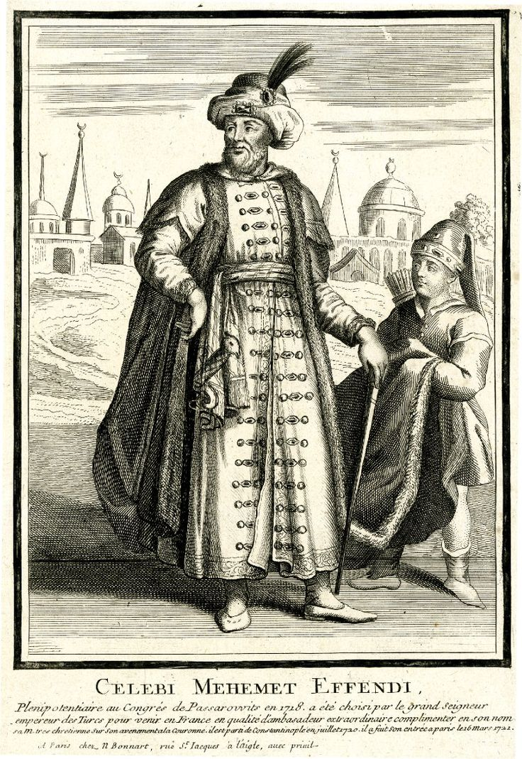 Standing man in Turkish costume, with sleeveless fur-trimmed mantel, long tunic and turban adorned with feather, and page-boy holding the end of the mantel.  c.1721  Etching and engraving