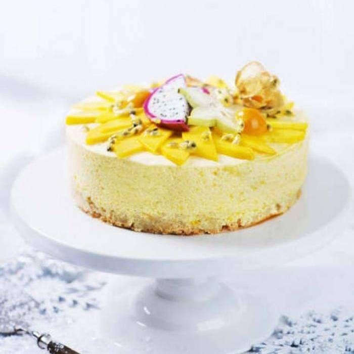 Moussetårta med passionsfrukt & mango