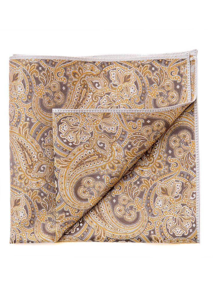 Pavarotti-Silk Paisley Pocket Square-Gold and Silver