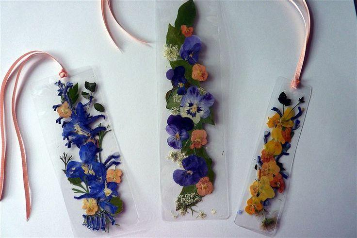 Pressed flower bookmarks-laminated  peach ribbon. $10.00, via Etsy.