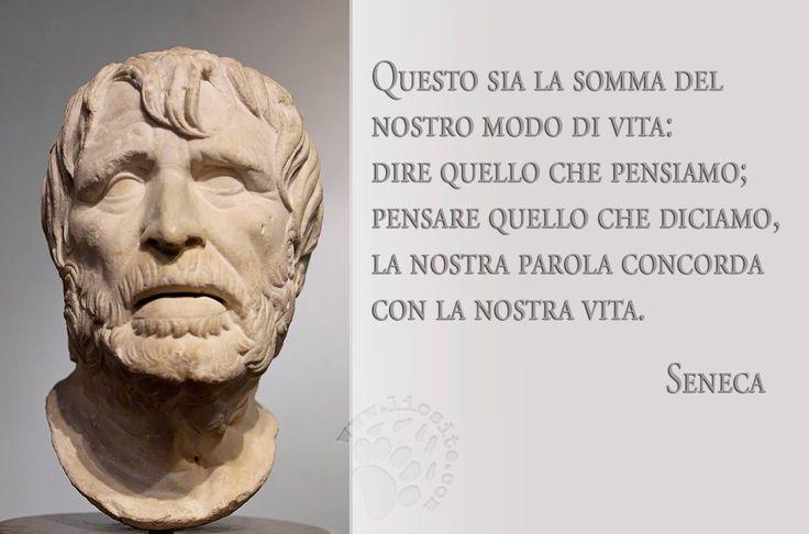 """Non si avrebbe un mondo decisamente migliore seguendo queste parole? Eppure ho notato che cercando di metterlo in pratica, mi sono fatta più nemici che amici purtroppo. Sembra che l'onestà non sia di moda. """"Questo sia la somma del nostro modo di vita: dire quello che pensiamo; pensare quello che diciamo, la nostra parola concorda con la nostra vita."""" Lucio Anneo Seneca #seneca, #classici, #pensiero, #coerenza, #italiano,"""