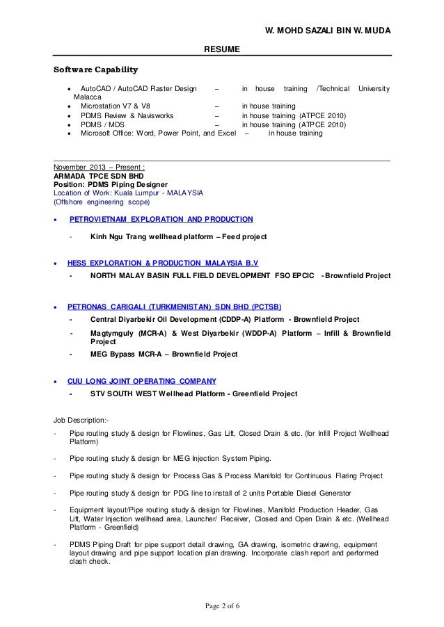 Pdms Piping Design Resume - The best estimate professional