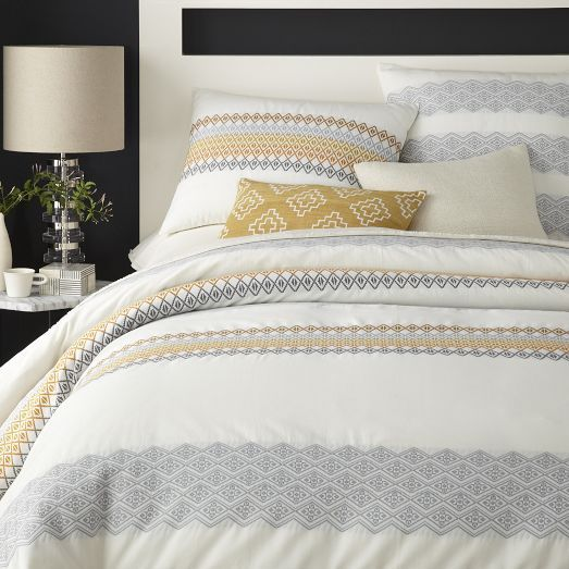 NEW! California-based Coyuchi is known for using organic cotton and unique detailing. We collaborated with them to create the Dobby Duvet Cover + Shams, which gets its name and intricately woven geometric pattern from the dobby loom used to make it.