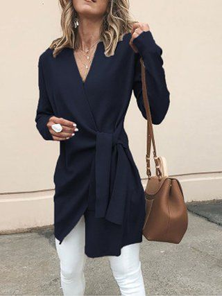Solid Casual Surplice Neck Long Sleeve Plus Size Coat