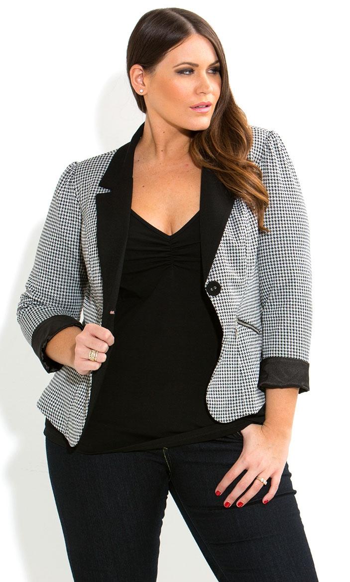 City Chic - HOUNDSTOOTH JACKET - Women's plus size fashion