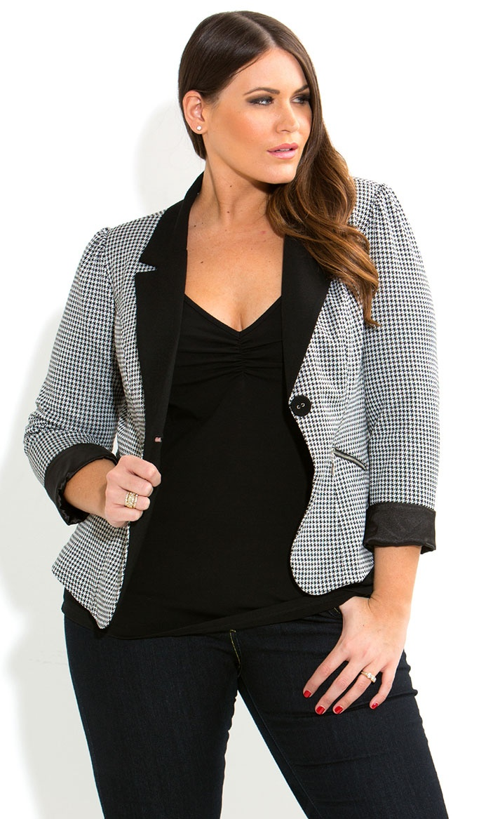 City Chic - HOUNDSTOOTH JACKET - Women's plus size fashion