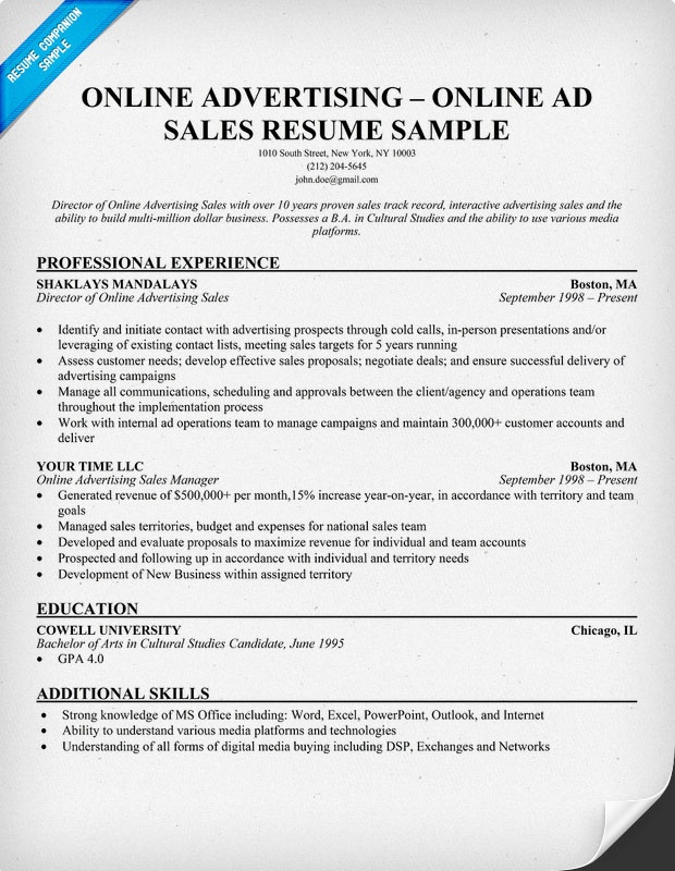 Online Advertising Online Ad Sales Resume
