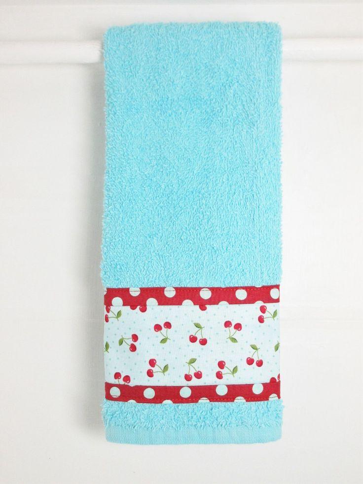 Cherries Hand Towel, Aqua Teal Hand Towel, Cherry Kitchen Decor, Cherry Kitchen Decor, Teal Aqua Kitchen Towel, Aqua and Red Kitchen Decor by MarlenesSewingRoom on Etsy https://www.etsy.com/listing/267174431/cherries-hand-towel-aqua-teal-hand-towel