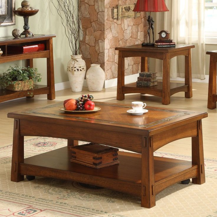 Riverside Craftsman Home Rectangular Coffee Table Set - RVS1839