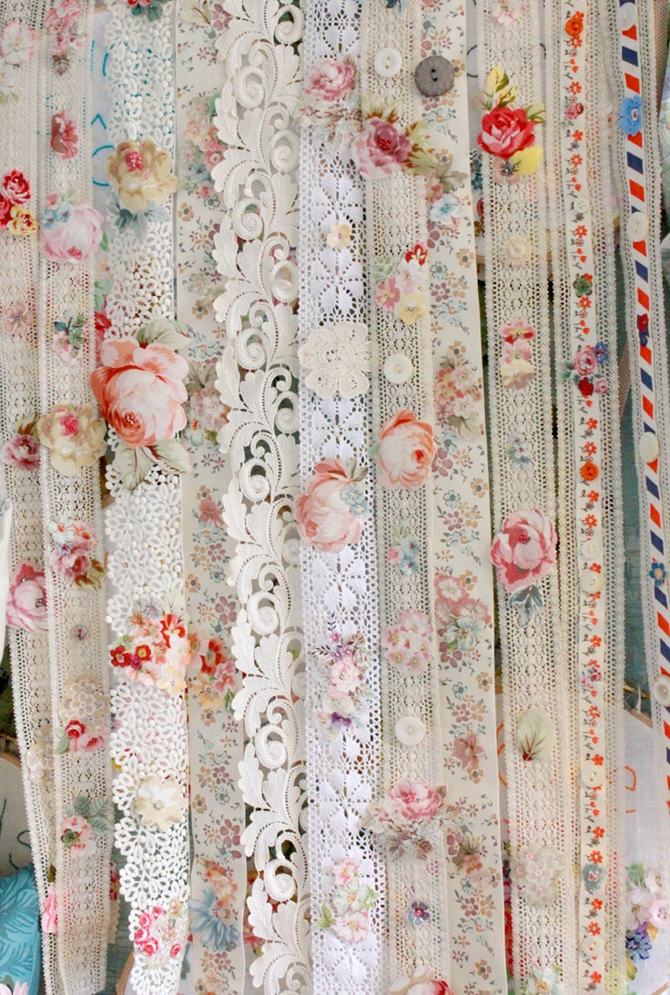 miles and miles of floral ribbon  from www.thevintagedrawer.com