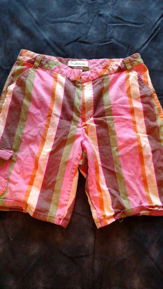 Croft & Barrow Women's Shorts Stretch Size 12 Striped Pink Green Brown Beige  #CroftBarrow #CasualShorts