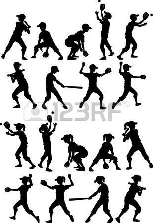 Jugadores de b isbol o softbol Siluetas de Ni os Muchachos y Muchachas Foto de archivo