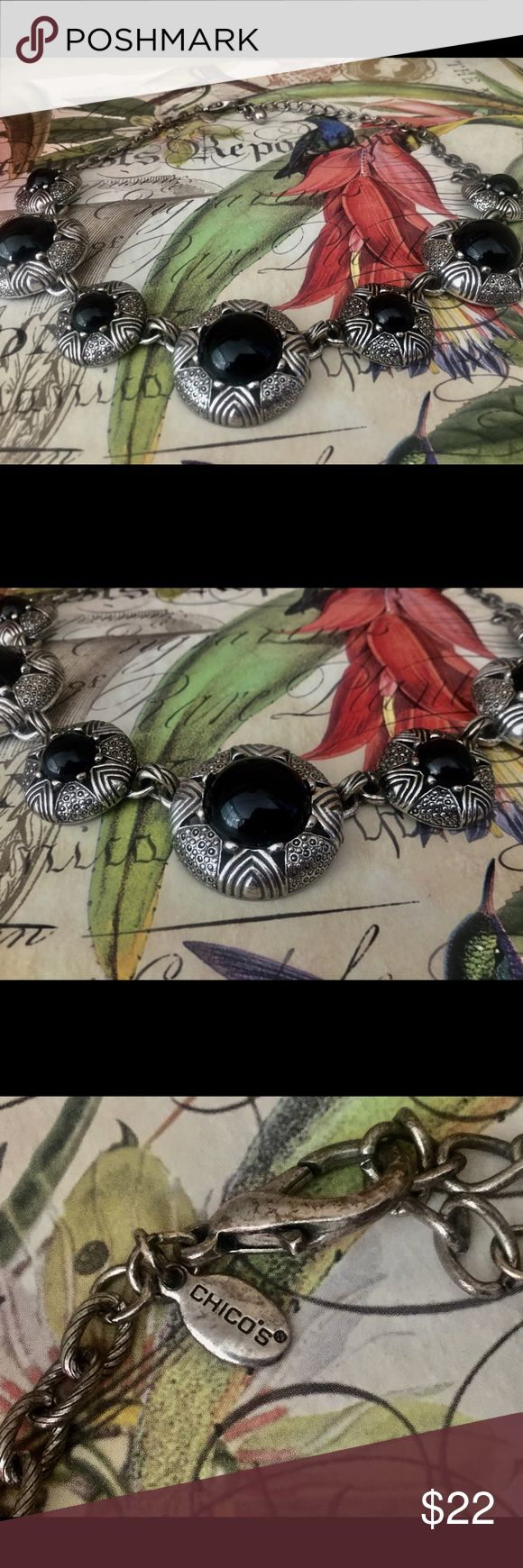 ♦️Chicos silver and black statement necklace Silver and black multi pendant necklace by Chico's Chico's Jewelry Necklaces