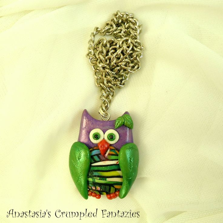 Green purple cartoon owl pendant,  Polymer clay fimo forest creature bird necklace, Cernit feather wing leaf, Cute colorful kawaii critter by CrumpledFantazies on Etsy