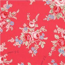 Tissu laminé rouge avec des fleurs roses et bleues par Lecien