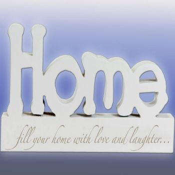 Home. A gorgeous blockword from the Words to Inspire range by Splosh. With the phrase: fill your home with love and laughter... written under the larger Home word this is designed to stand alone.