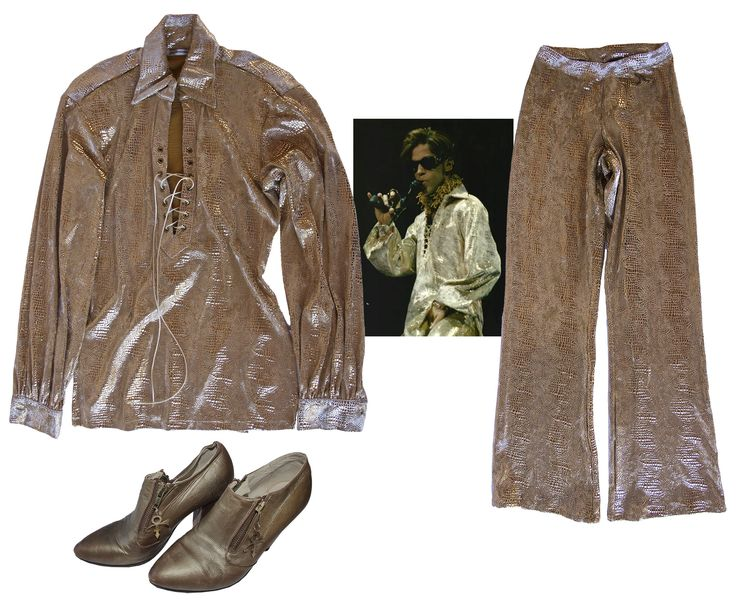 Three piece outfit stage-worn by Prince. Outfit consists of shirt, pants and shoes: (1) Long slee