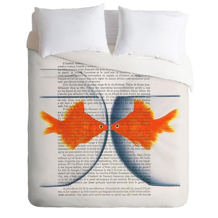 Coco De Paris Goldfish Love Lightweight Duvet Cover King Orange DENY Designs, Orange Blue