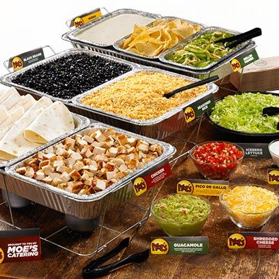 Moe's Make-Your-Own Fajita bar. Great idea for a party!