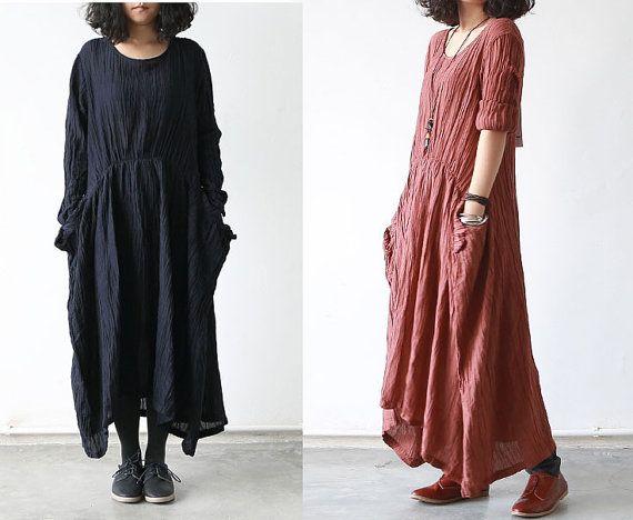 Women Burgundy Black Cotton Linen Dress Loose Fit Dress
