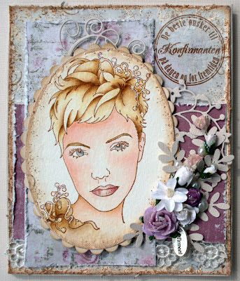 Annes lille hobbykrok: Sweet Pea, Girl card, konfirmant, Distress Ink