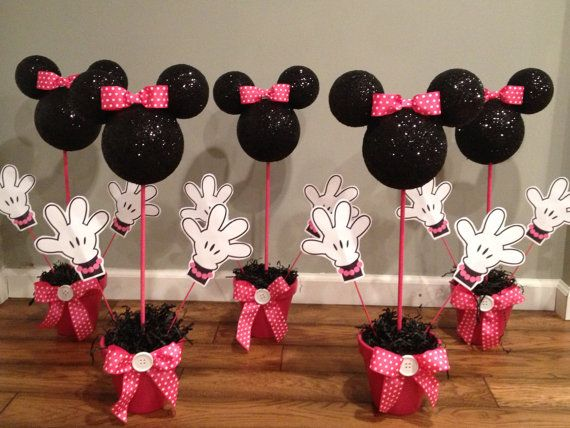 2 Minnie Mouse Centerpiece by WhitsPartiesandMore on Etsy
