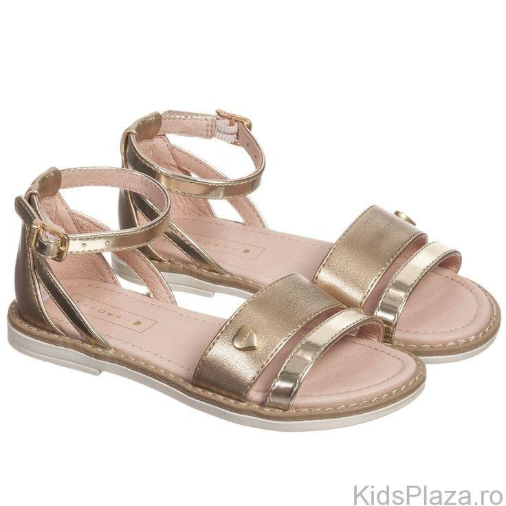 Sandale+cu+detalii+metalizate.Compozitie:+100%+poliuretan,+interior:+100%+piele.
