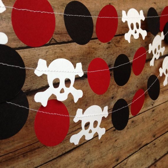Pirate Party Garland Birthday Decor Skull And Crossbones
