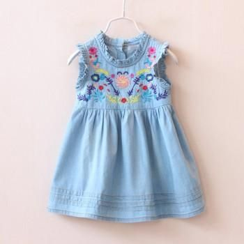 Baby and Toddler Girl's Pretty Ruffles Embroidered Sleeveless Denim Dress in Blue