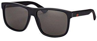 Gucci Gg0010s 002 Black Rectangle Sunglasses.