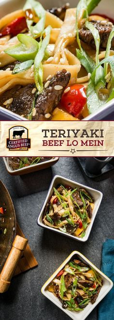 Certified Angus Beef®️ brand Teriyaki Beef Lo Mein uses the BEST top round steak, thinly cut and marinated in pineapple juice, soy sauce, and crushed red pepper! This juicy and delicious steak is added to Chinese egg noodles in a pan with peppers, mushrooms, and pineapple chunks for a TASTY lo mein recipe! #bestangusbeef #certifiedangusbeef #beefrecipe #noodles #easyrecipes