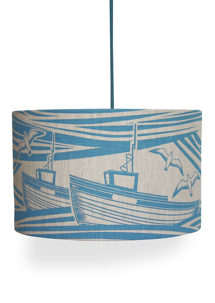 Hand screen printed linen lampshade.This lampshade is available with either a pendant or a lamp fitting, depending on how you intend to use the shade. Therefore please specify your preference f...