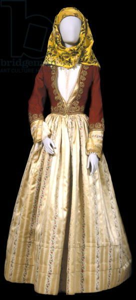 Female town costume of Ydra @ Benaki Museum, Athens, Greece. Bridgeman Images