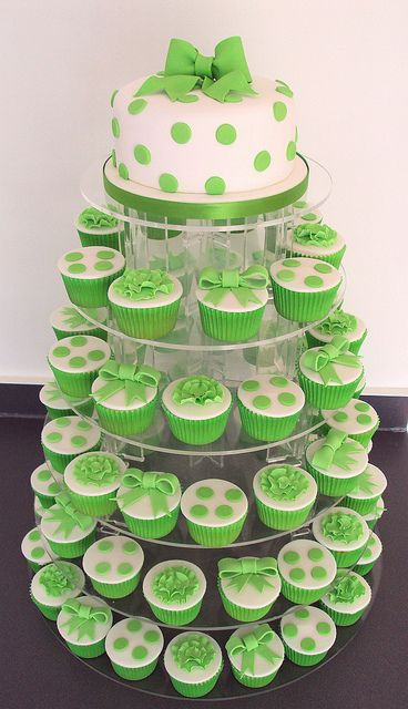 Lime Green Polka Dot Cupcakes: