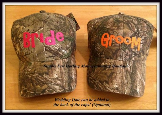 Personalized Bride, Groom & Bridal Party Camo Hats with wedding date by SimplySewDarlingMonogrammingBoutique, $15.00 (Embroidered in your choice of thread color!)