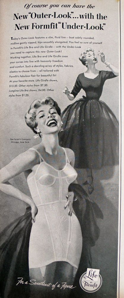 1953 ad Formfit Bra and Girdle Longline pinup model illustration Mad Men era style - Free U.S. shipping