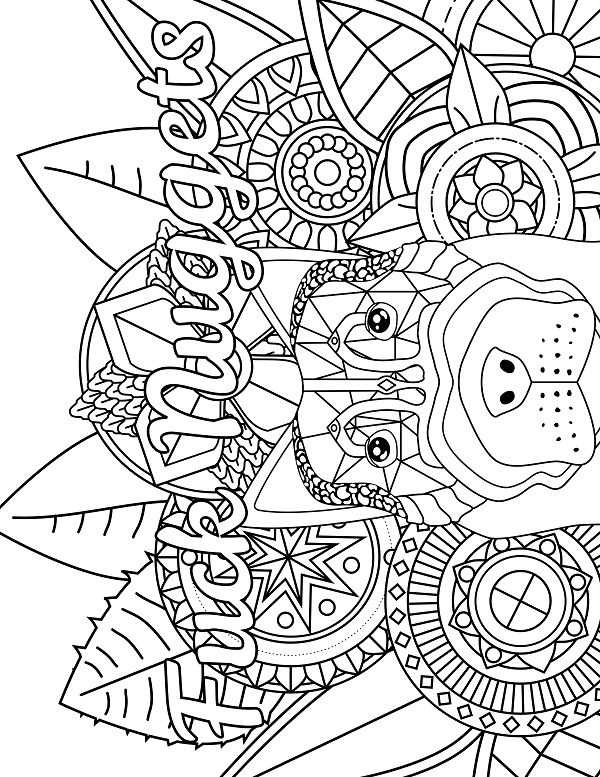 Dog Adult Coloring page swear 14 FREE printable